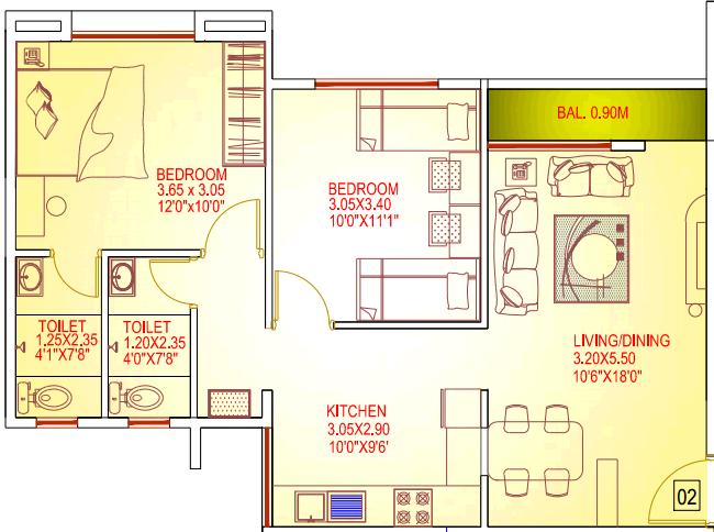 2 BHK Flat - 831 Saleable - for Rs. 25.2 Lakhs at Dajikaka Gadgil Developers' Anant-Shrishti - 1 BHK 2 BHK 3 BHK Flats Bungalow Plots - Kanhe Phata Talegaon - Pune 412 106