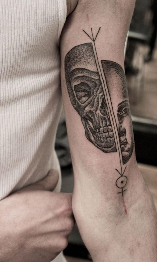 Half Face And Half Skull Tattoo By M X M Tattoomagz
