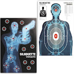 50 Packs Human Silhouette Large Paper Shooting Target Sheets for Practice Indoor Outdoor Firearms Guns, 25 x 38 Inches, 2 Designs