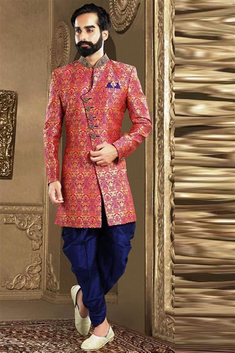 Pink Brocade Party Wear Mens Indo Western Outfit from