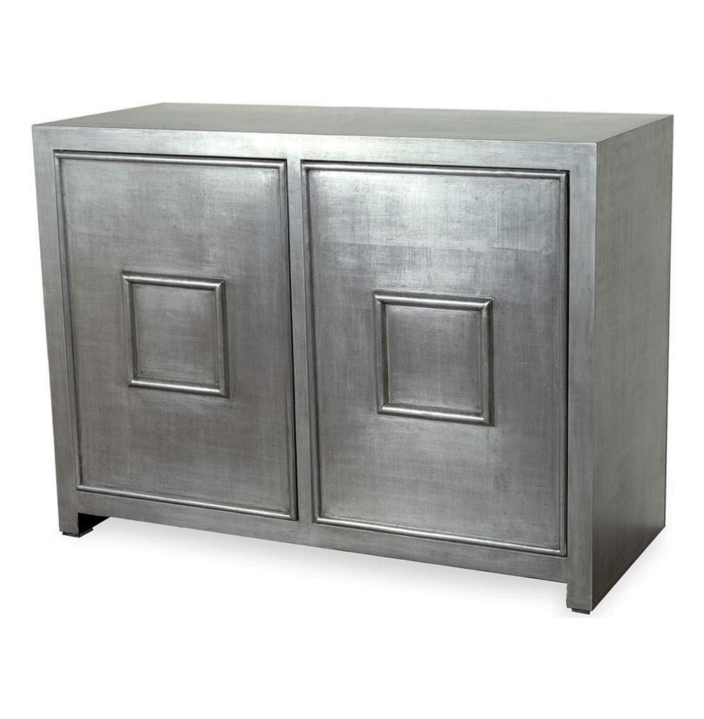 Park Avenue Hollywood Regency Style Silver Leaf Cabinet ...