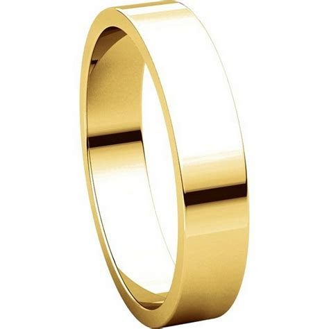 N012504 14K Yellow Gold 4mm Flat Men's Plain Wedding Band