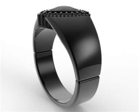 Mens Wedding Band Black Gold 1 Carat Black Diamond   Vidar