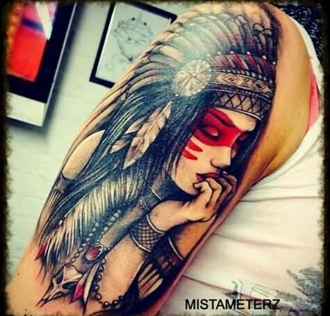 Right Half Sleeve Native American Tattoo