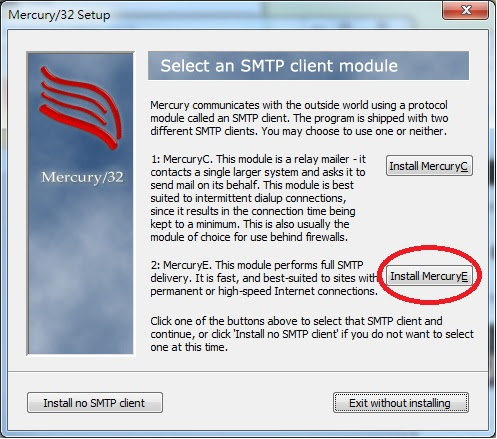 Mercury 32 Mail Transport System Setup Select An SMTP Client Module