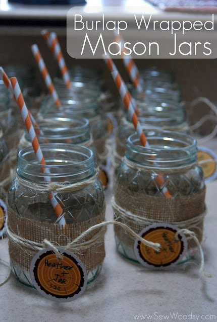 Burlap Wrapped Mason Jars Sew Woodsy