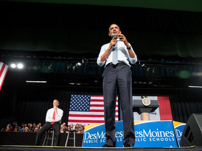 """President Barack Obama and Secretary of Education Arne Duncan (left), at North High School in Des Moines this month. The White House and the Department of Education are calling on states to cut the """"burden"""" of unnecessary testing."""