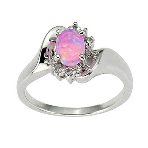 925 Sterling Silver Synthetic Pink Opal Women's Engagement