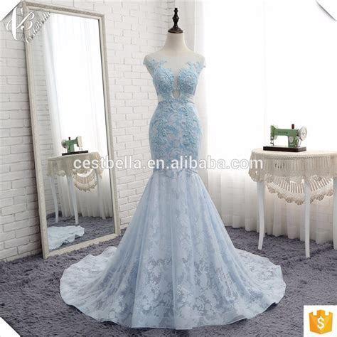 Luxury Sparkling Beaded Lace Light Blue Mermaid Wedding