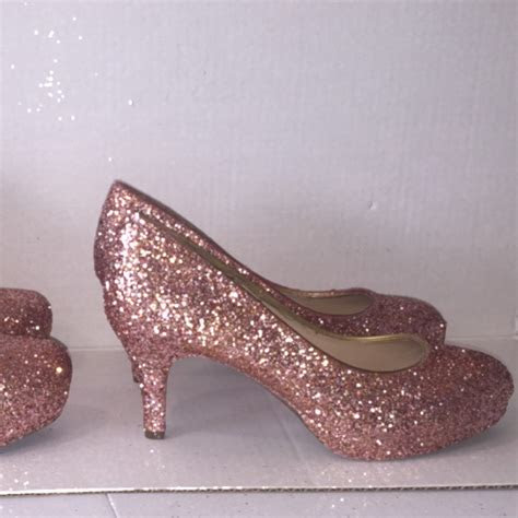 sparkly metallic rose gold glitter  heel wedding bride