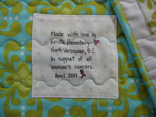 Raffle quilt label