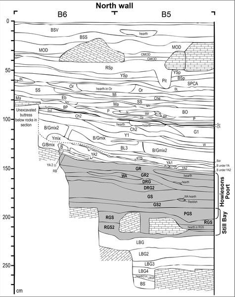 Figura 3. Sibudu: Estratigrafía de la sección en plazas B6 y B5.