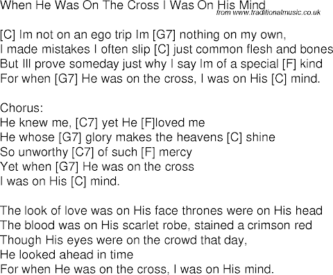 When He Was On The Cross Lyrics And Chords