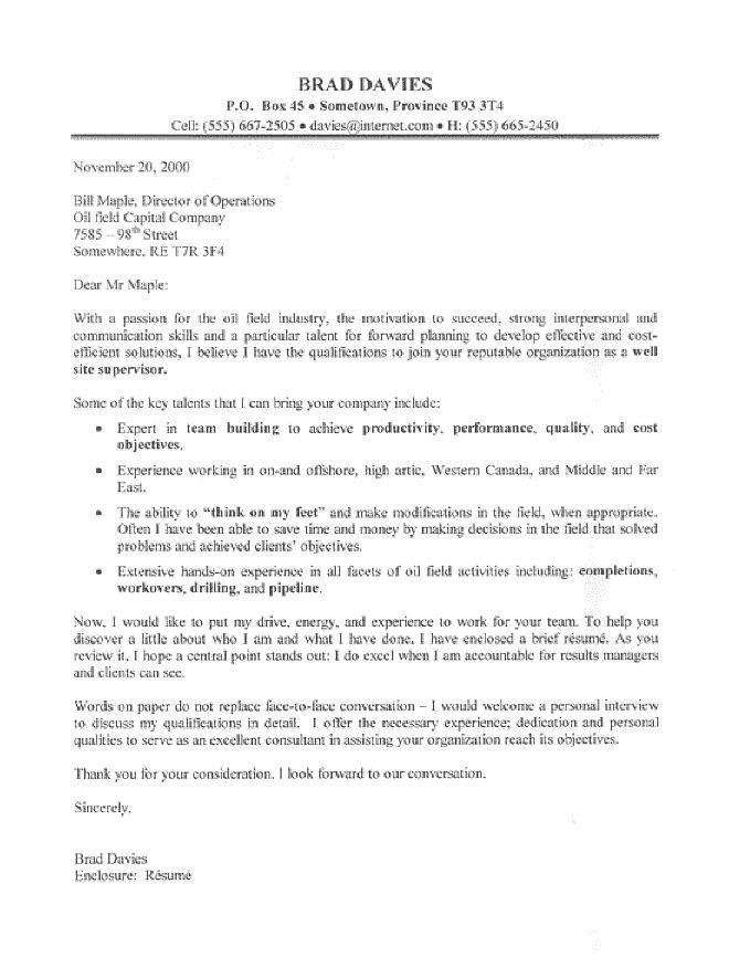 This Oil Field Supervisor Cover Letter Sample Represents