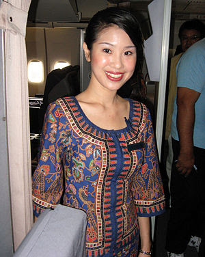 An air hostess for Singapore Airlines. April 8...