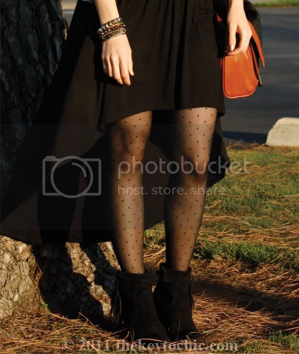 high-low skirt, polka dot tights, Sam Edelman Louie boots, Los Angeles fashion blog