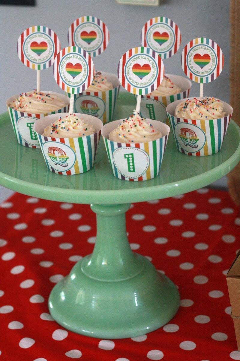 DIY Printable Cupcake Wrappers- Rainbow Birthday Party- Circus- Customized