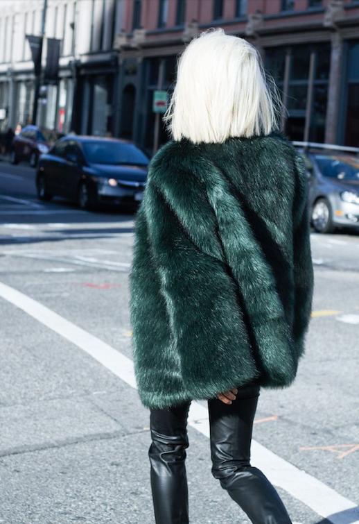 Le Fashion Blog Ways To Wear Green Jacket Fall Winter Blogger Style Long Bob Oversized Fur Coat Leather Pants Via The Haute Pursuit