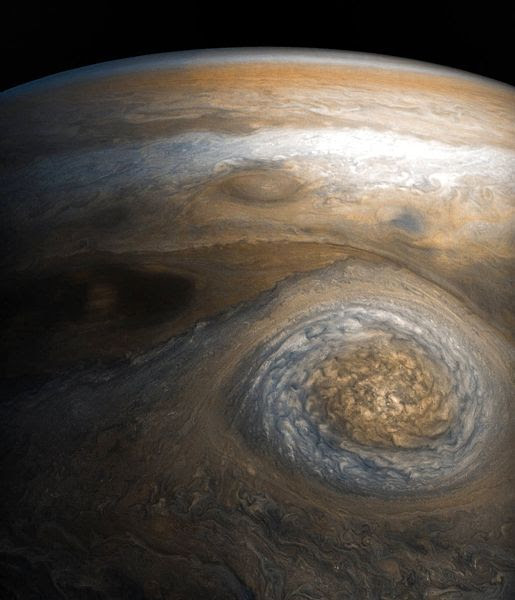 An image of a storm on Jupiter that was taken by NASA's Juno spacecraft...on July 10, 2017.