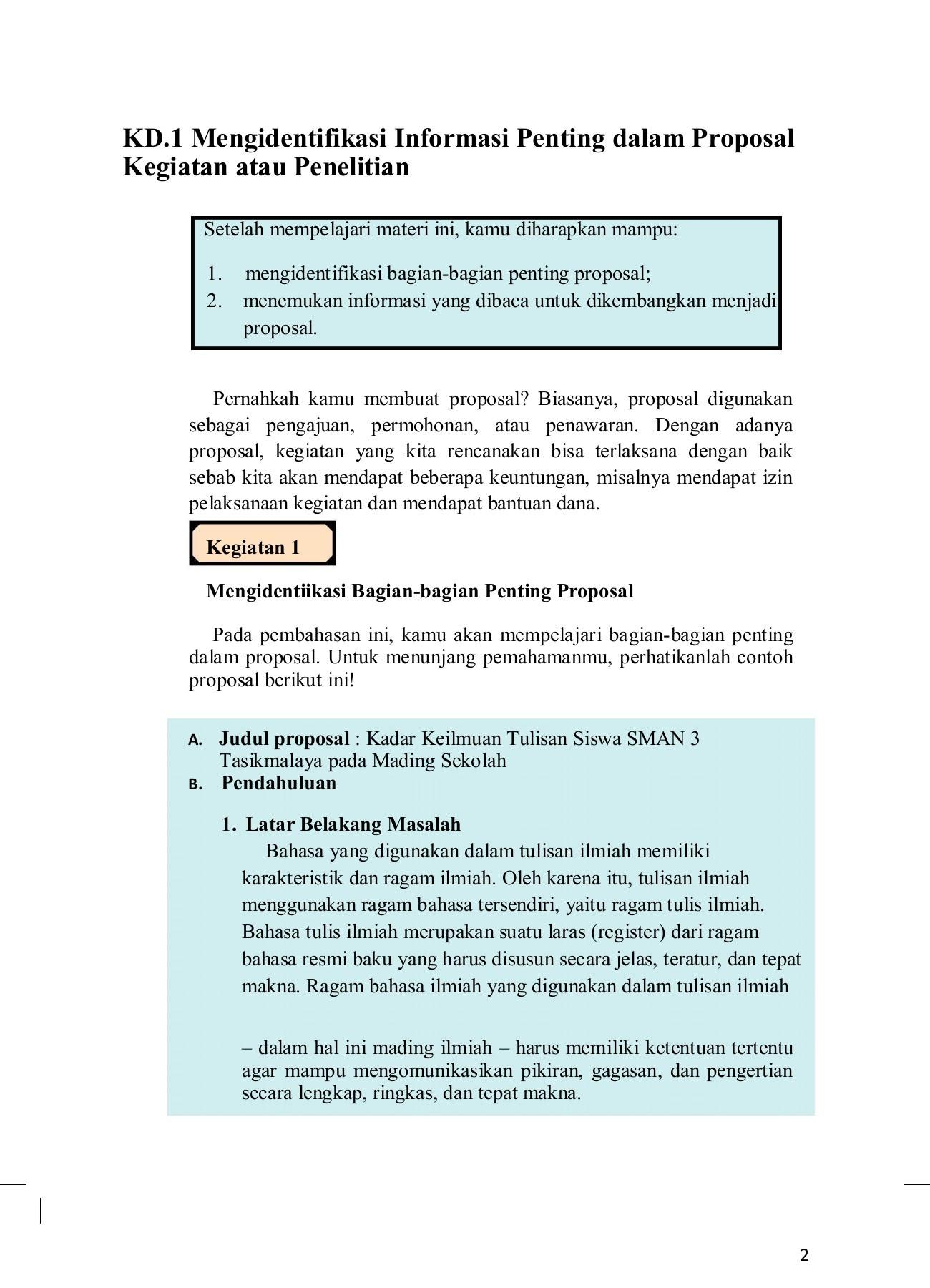 Bagian Bagian Penting Proposal Guru Ilmu Sosial