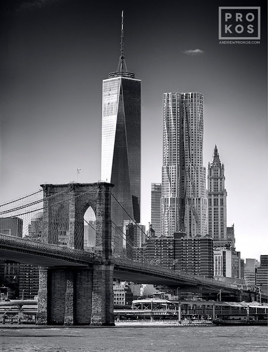 Brooklyn Bridge and Lower Manhattan Skyscrapers - Black & White Photo by Andrew Prokos