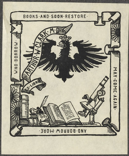 bookplate - Prussian eagle, ribbon banner + table with microscope and books
