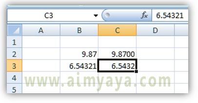 Gambar: Contoh tulisan desimal 4 angka dibelakang koma di Microsoft Excel