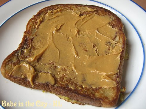 Gardenia Banana Walnut Loaf - french toasted with peanut butter