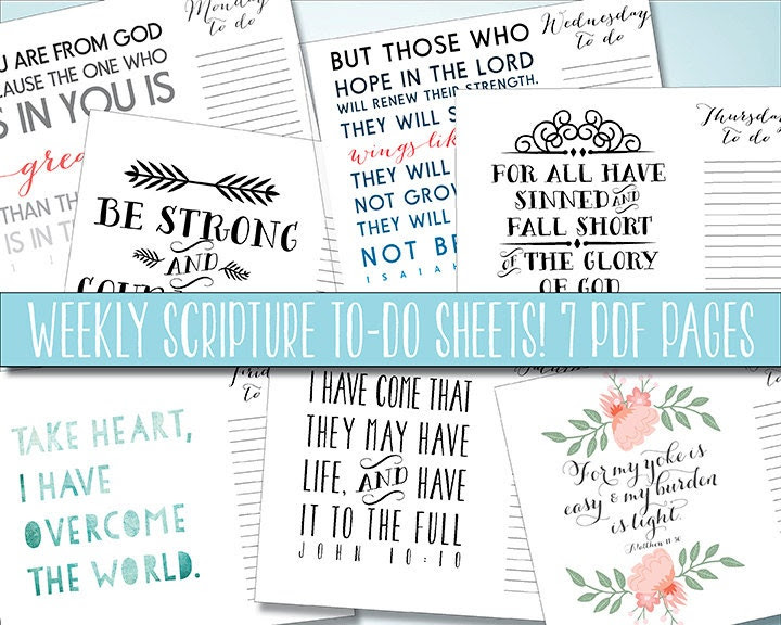 Items similar to Scripture To Do List Daily, to do printable ...
