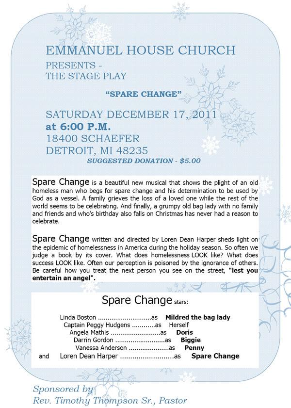DEC 17: Emmanuel House Church presents SPARE CHANGE