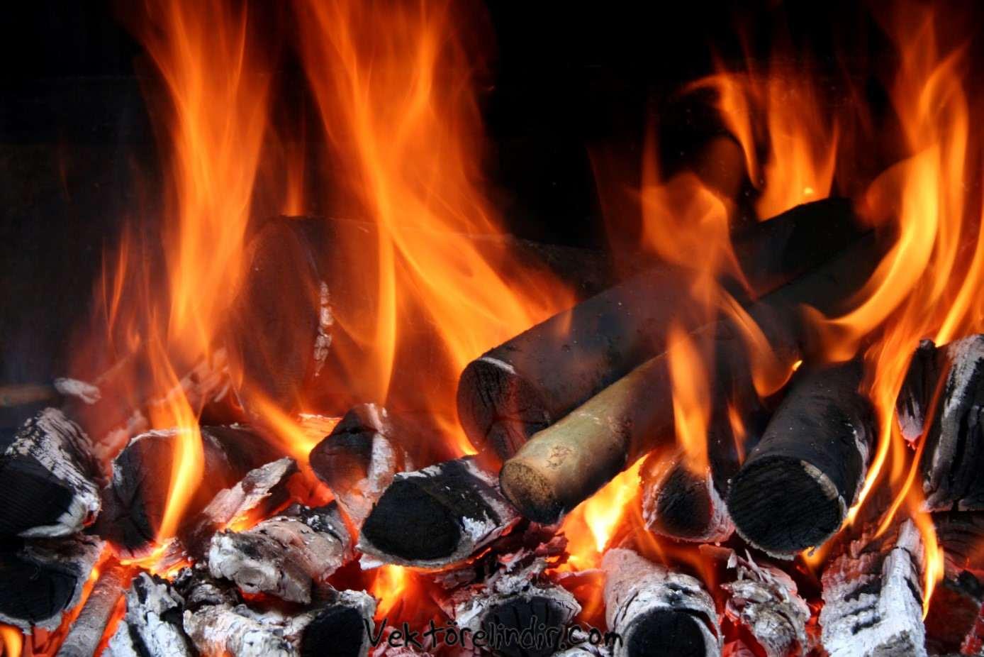 Ateş Alev Odun çizim Kaliteli Resim Vektörelindircom ücretsiz