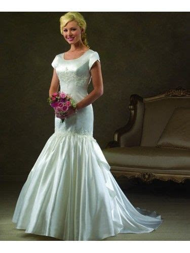Satin Tulip Sleeves Embroidered Bodice Mermaid Wedding