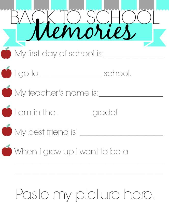 Back to School Memories Printable by Woman of Many Roles