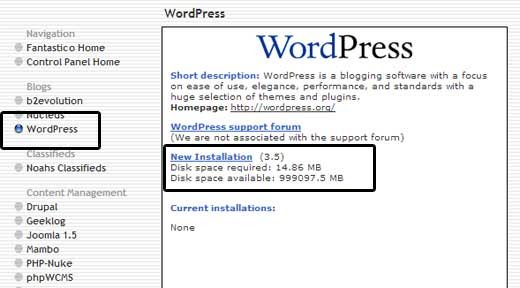 Fantastico WordPress Info