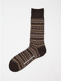 White Mountaineering Mens Border Pattern Jacquard Middle Socks