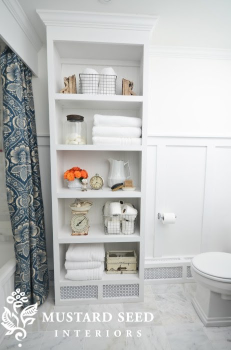 custom builtin bathroom shelves