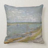 View of a River w Rowing Boats by Vincent van Gogh throwpillow
