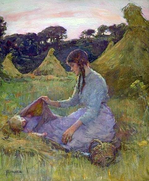 A Woman And Child In A Hay Field