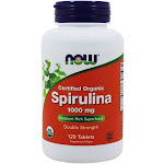 NOW Foods Organic Spirulina Double Strength 1000 mg. 120 Tablets