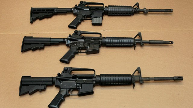 PHOTO: Three variations of the AR-15 assault rifle are displayed at the California Department of Justice in Sacramento, Calif., Aug. 15, 2012.