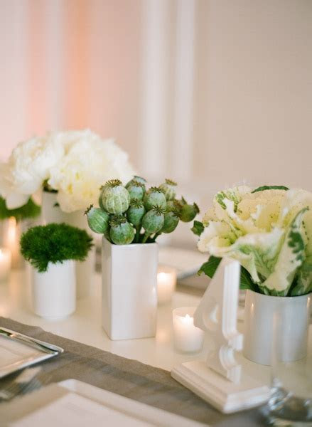 Modern Green and White Centerpiece   Elizabeth Anne