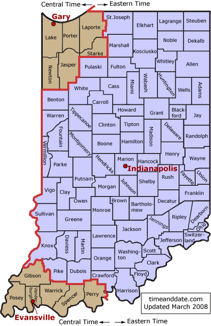 Indiana Eastern Time Zone Map | Map Of Us Western States