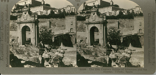 Fotografía estereoscópica de Toledo. Puente de Alcántara