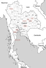 Thumbnail of Provinces of Thailand in which Q fever surveillance was conducted, 2012. Red ovals indicate sources of normal ruminant placentas. Two human deaths caused by endocarditis diagnosed as attributable to Coxiella burnetii infection have recently been reported in Khon Kaen Province.