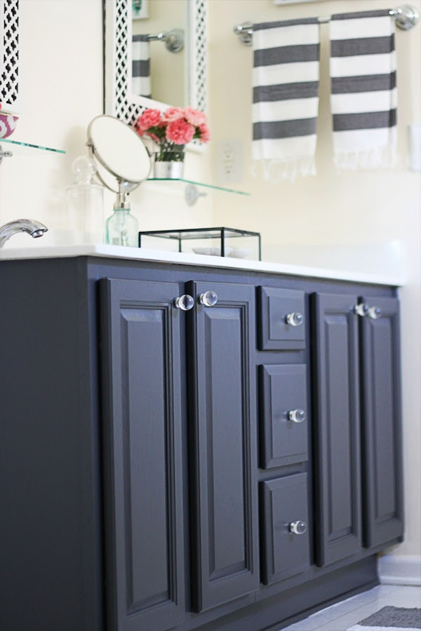 My Painted Bathroom Vanity Before and After - Two Delighted