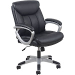 OFM Essentials ESS-6020 - Chair - executive - armrests - ring-shaped - tilt - swivel - SofThread leather - black, silver
