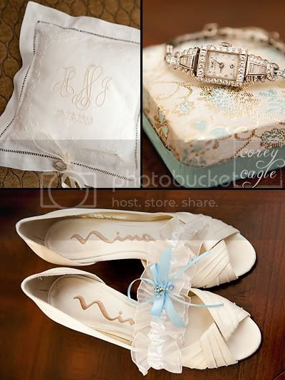 bride's shoes watch and ring pillow
