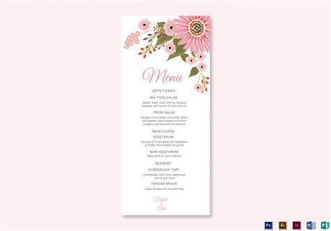 Floral Wedding Menu Card Design Template in Illustrator