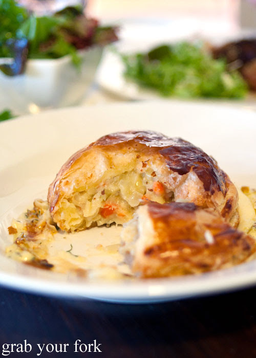 Cod scallop and mussel pie at Grazing in Gundaroo