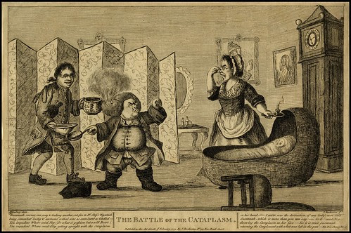 domestic room engraving with bassinet, short fellow with fire in his wig and lady holding nose